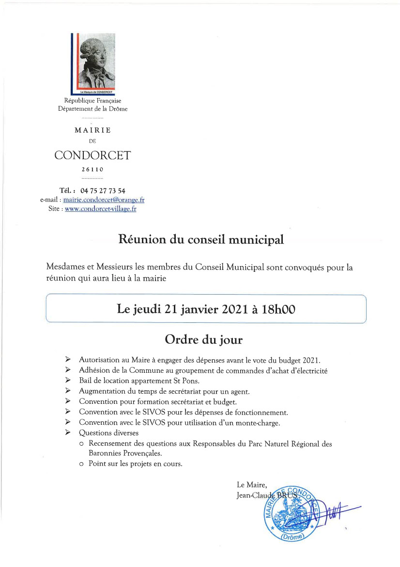 REUNION DU CONSEIL MUNICIPAL