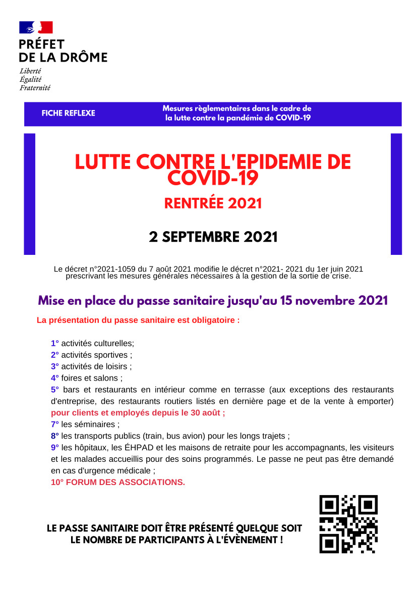 COVID-19 FICHE REFLEXE, RENTREE 2021