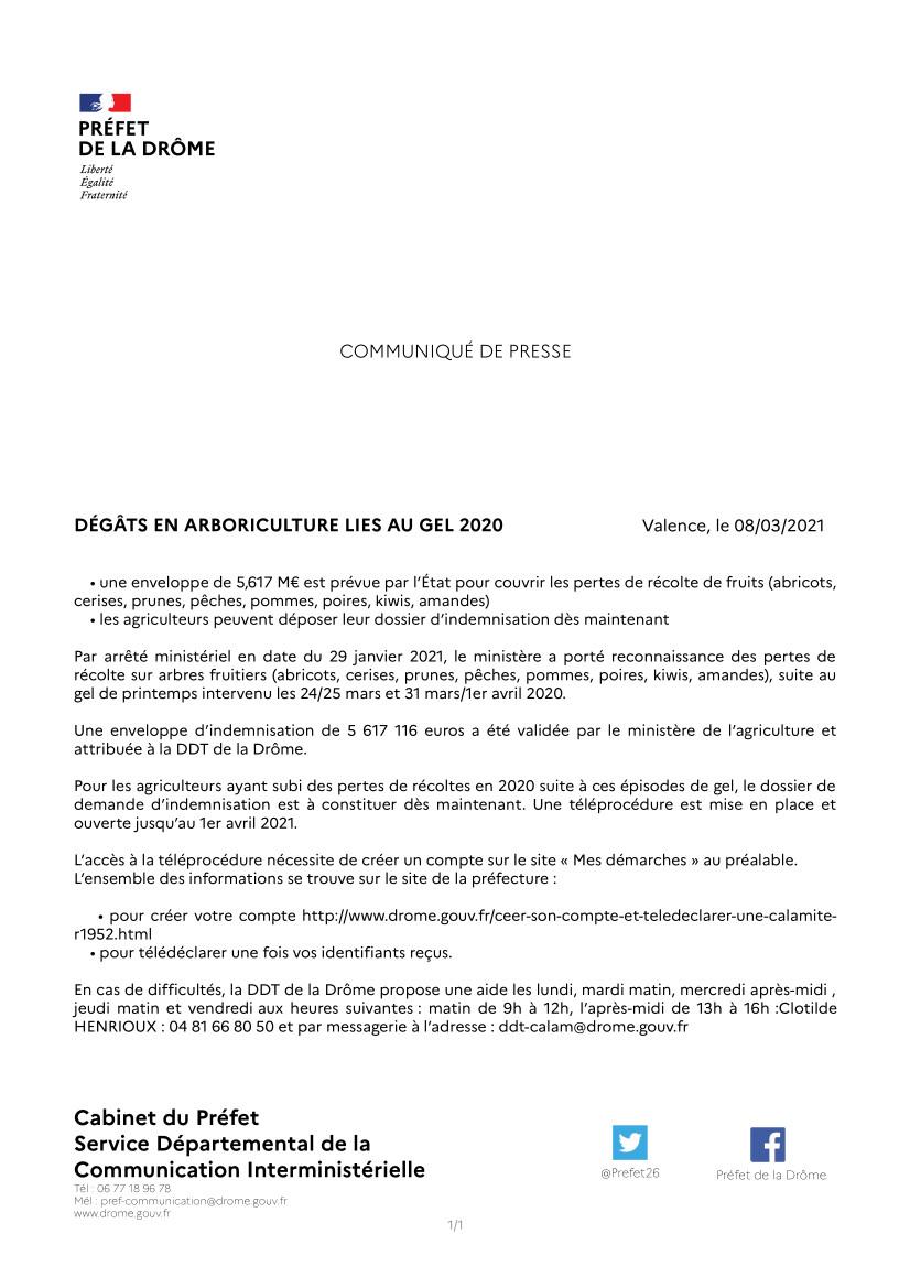 DÉGÂTS EN ARBORICULTURE LIES AU GEL 2020