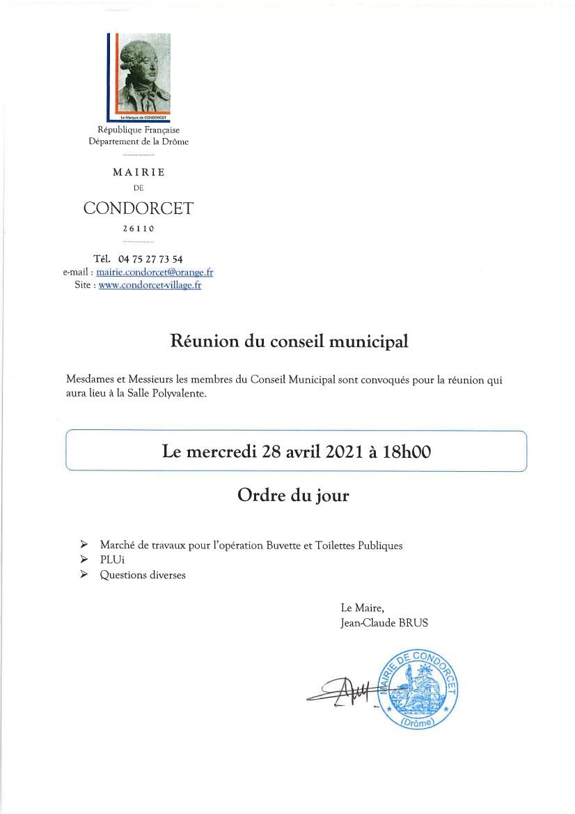 Réunion du Conseil Municipal le mercredi 28 avril 2021 à 18h00