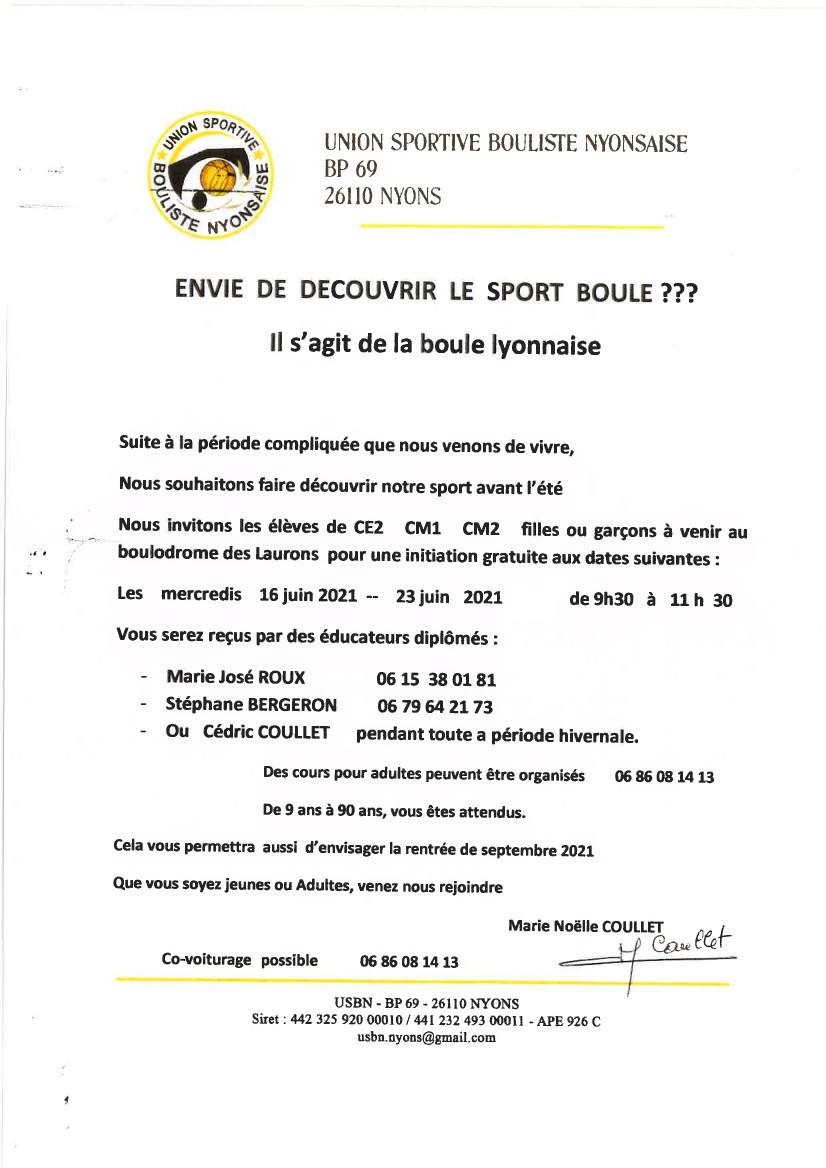 ENVIE DE DECOUVRIR LE SPORT BOULE ???